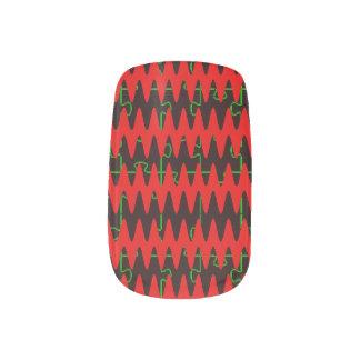 Red jigsaw Sine Waves Nail Art