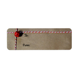 Red Jingle Bell and Twine Christmas Gift Labels