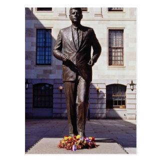 Red John F. Kennedy statue flowers Postcard