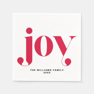 Red Joy Modern Typography Personalized Holiday Disposable Serviettes
