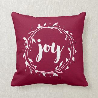 Red Joy Wreath Throw Pillow