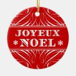 Red Joyeux Noel Elegant Christmas Ornament