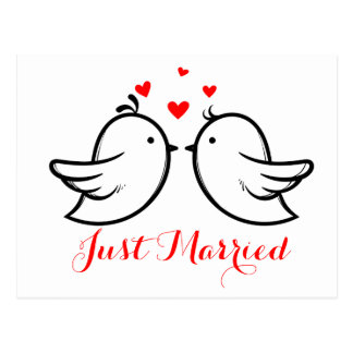 Red Just Married Black Lovebirds Wedding Postcard