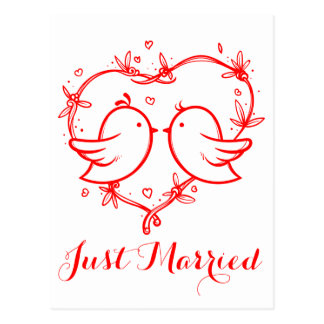 Red Just Married Lovebirds & Heart Wedding Postcard