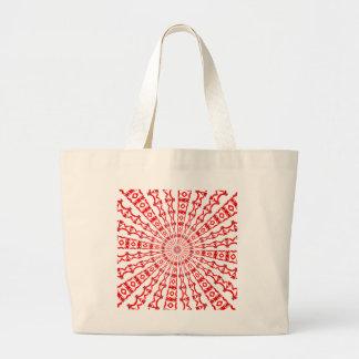 Red Kaleidoscope Design on Jumbo Tote Bag