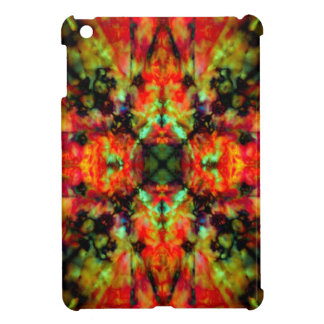 Red kaleidoscope star pattern case for the iPad mini