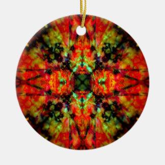 Red kaleidoscope star pattern round ceramic decoration