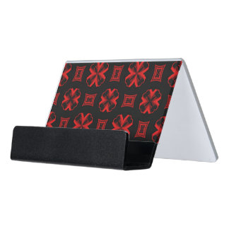 Red Kaleidoscope X and Square Desk Business Card Holder