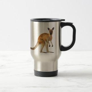 Red Kangaroo In Side View Stainless Steel Travel Mug