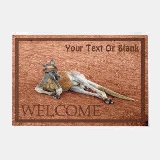 Red Kangaroo In Slouch Hat - Welcome Doormat