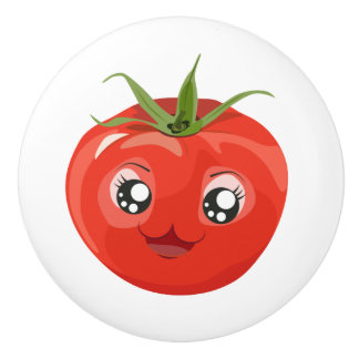 Red kawaii tomato White Ceramic Knob