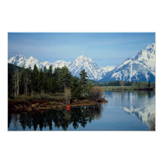 Red Kayak, Grand Teton National Park, USA Posters