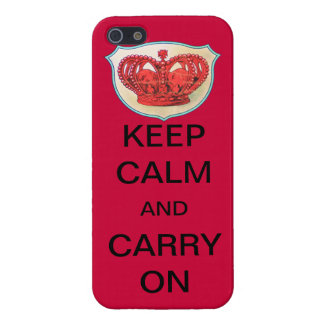 """RED """"KEEP CALM AND CARRY ON"""" CROWN CASE iPhone 5 COVER"""