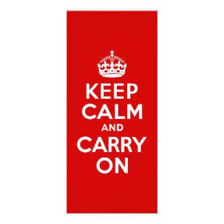 Red Keep Calm and Carry On Customized Rack Card