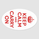 Red Keep Calm and Carry On Oval Stickers