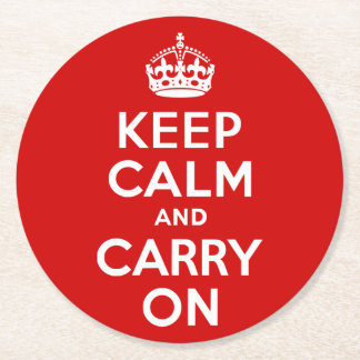 Red Keep Calm and Carry On Round Paper Coaster