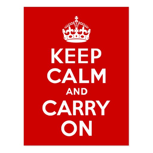 Red Keep Calm and Carry On Postcard