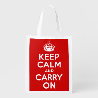 Red Keep Calm and Carry On Reusable Grocery Bag