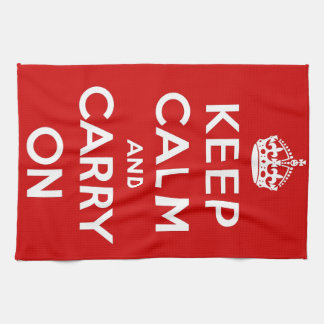 Red Keep Calm And Carry On Tea Towel