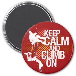 Red Keep Calm and Climb On Rock Climbing Magnet
