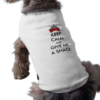 Red Keep Calm And Give Me A Snack Bone Template Sleeveless Dog Shirt