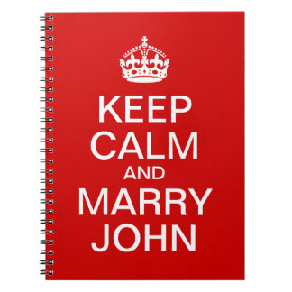 Red Keep Calm and Marry Groom Spiral Note Book