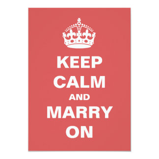 Red Keep Calm and Marry On Wedding Invitations