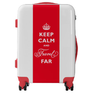 Red Keep Calm And Travel Far Luggage