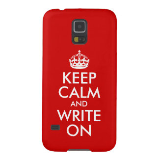 Red Keep Calm and Write On Galaxy S5 Cases