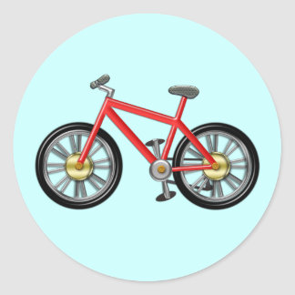 Red Kids Bike Round Sticker