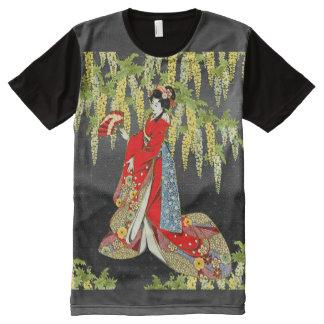Red Kimono Lady All-Over Print T-Shirt