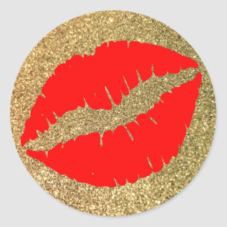 Red Kiss Gold Glitter Classic Round Sticker
