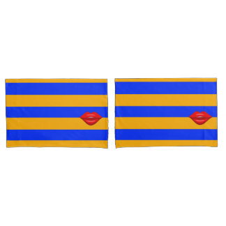 Red kiss lips orange blue stripes pillowcase