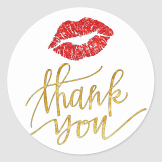 red kiss thank you classic round sticker