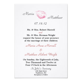 Red Kiss Wedding Invitation