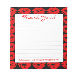 Red Kisses on Black - Custom Thank You Notepad