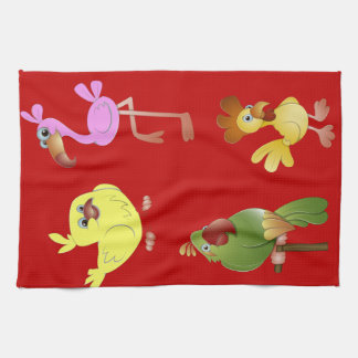 Red Kitchen Towel With Animals Pink Flamingo Chick