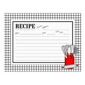 Red Kitchen Utensil Caddy Rolling Pin Recipe Card