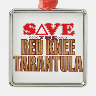 Red Knee Tarantula Save Silver-Colored Square Decoration