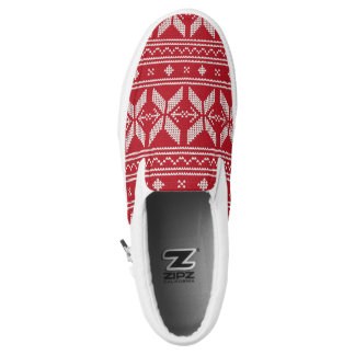 Red Knit Jumper Christmas Sweater Pattern Slip-On Shoes