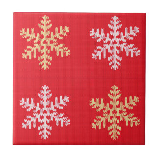 Red Knitted Snowflake Ceramic Tile