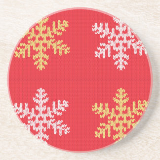 Red Knitted Snowflake Coaster