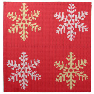 Red Knitted Snowflake Napkin