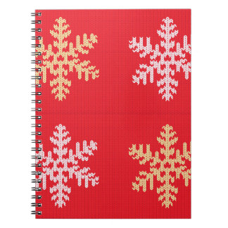 Red Knitted Snowflake Spiral Notebook
