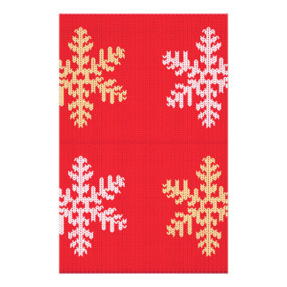 Red Knitted Snowflake Stationery