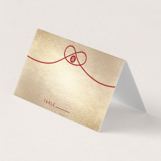 Red Knot Double Happiness Gold Wedding Folded Place Card