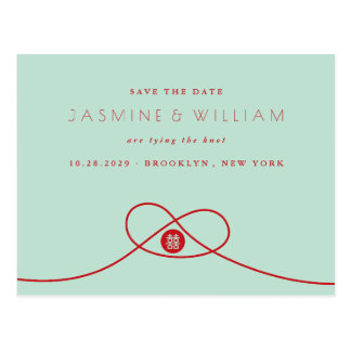 Red Knot Double Happiness Save The Date Postcard