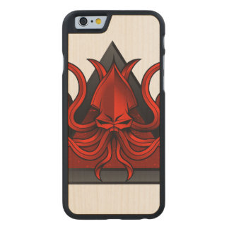 red kraken illustration carved® maple iPhone 6 case