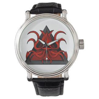 red kraken illustration wrist watch