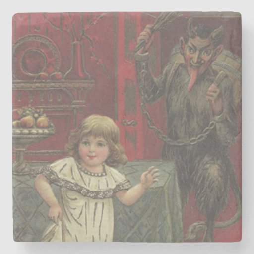 Red Krampus Girl Dining Room Switch Stone Coaster